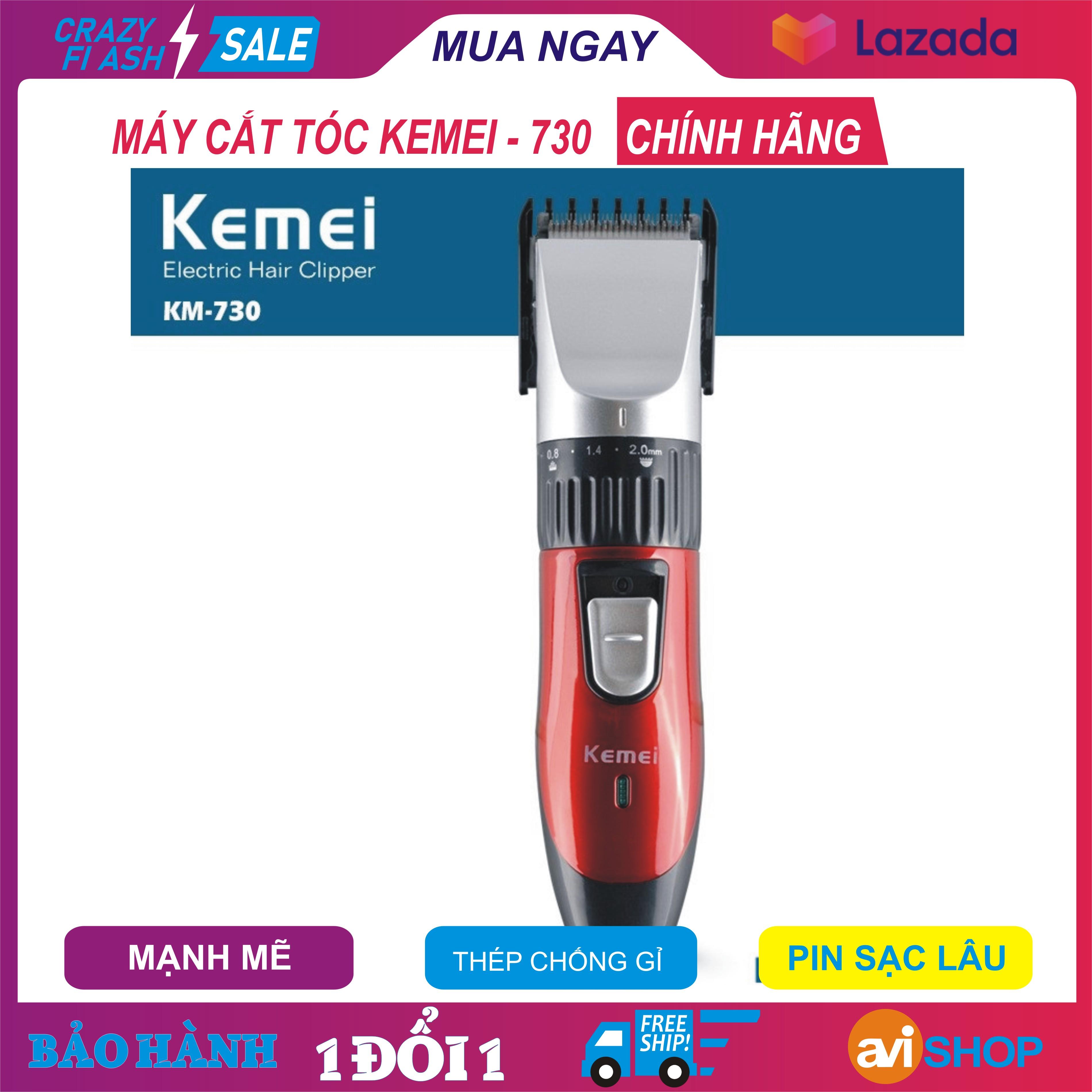 Máy cắt tóc Kemei – KM730, Tông đơ cắt  tóc trẻ em, người lớn, Hàng chất thép không gỉ, chống nước, pin sạc lâu, đầu cắt chuẩn, Giá SHOCk - aviSHOP cao cấp