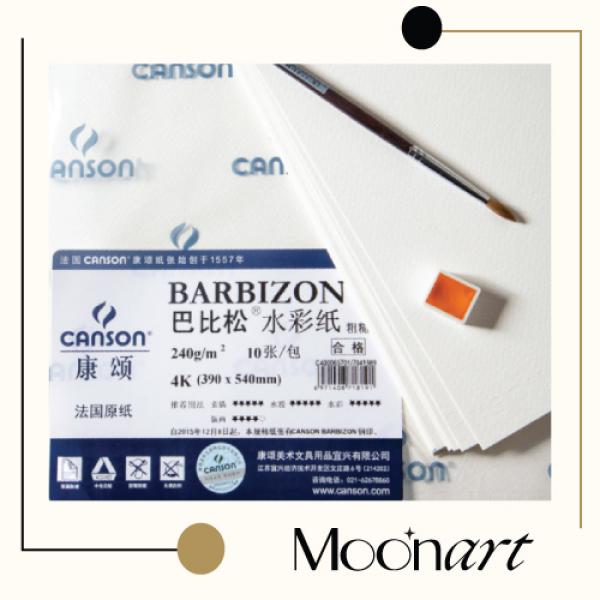 Giấy vẽ màu nước Canson 200gsm, Cason Barbizon 240gsm, giấy màu nước dùng cho cả màu bột, màu poster, than, chì - MoonArt
