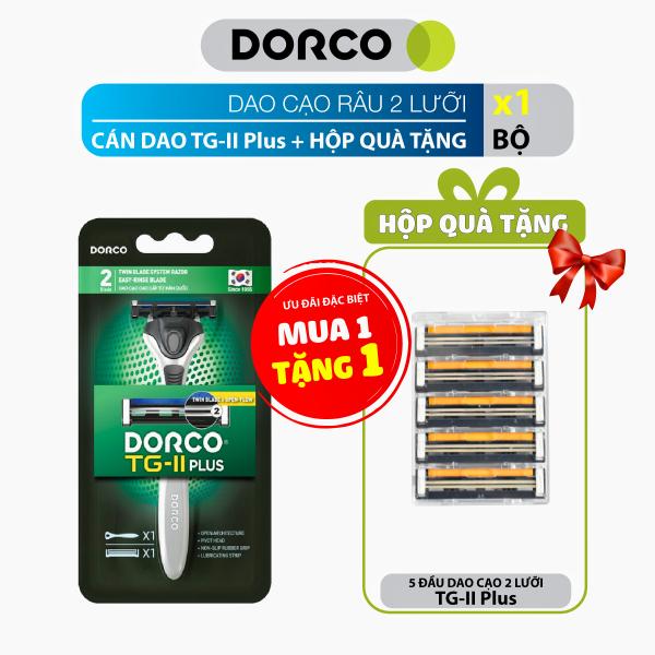 Dao cạo râu 2 lưỡi và Hộp quà tặng 5 đầu dao Dorco TG-II Plus cao cấp