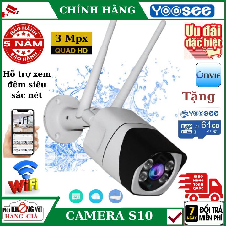 (Tặng Thẻ Nhớ CHUẨN YOOSEE 128GB)Camera IP WiFi Ngoài trời S10,Độ phân giải 2.0Mpx FullHD 1920 X 1080P,Camera KHÔNG DÂY hỗ trợ ghi âm, đàm thoại 2 chiều, lưu trữ video, chống nước cực tốt - Da S10