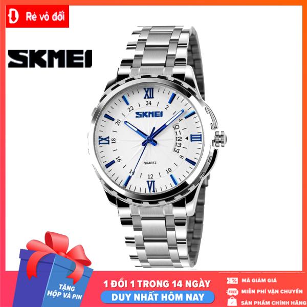 Đồng hồ nam SKMEI thời trang lịch lãm sang trọng, mặt kính dây thép kim loại đúc đặc chính hiệu -  Tặng hộp và pin dự phòng - Sam Shop bán chạy