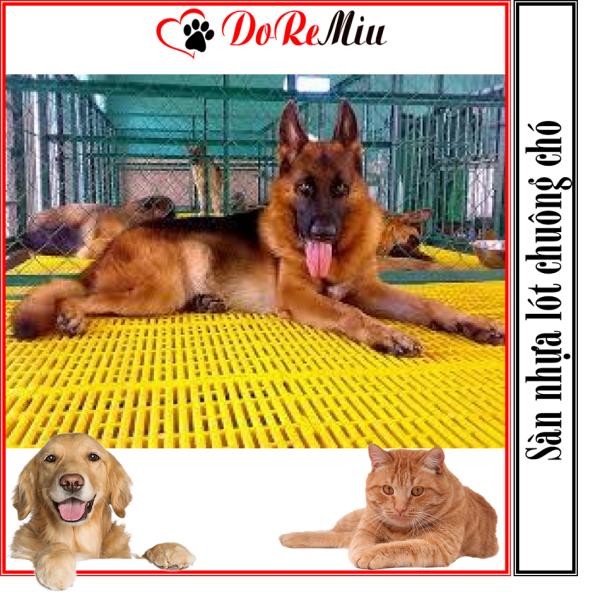 Doremiu- Sàn nhựa lót chuồng chó mèo màu vàng loại dày nặng 14kg/tấm size 40x55cm