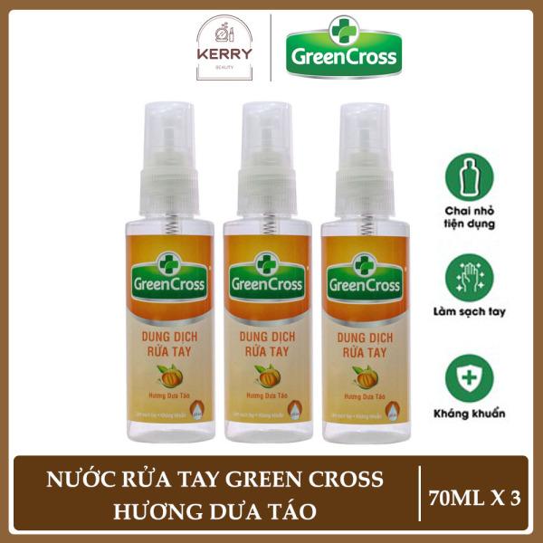 Combo 3 Chai Xịt Rửa Tay Khô Green Cross Hương Dưa Táo (70ml/chai)