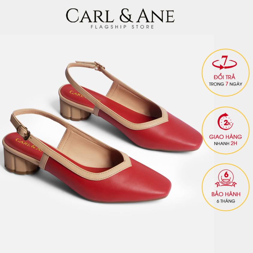 Carl & Ane - Giày cao gót thời trang mũi vuông hở gót phối dây tinh tế cao 3cm CL005 (RE) giá rẻ