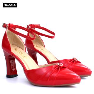 Giày cao 7P gót ốp kim loại quai cổ chân nơ liền đính đá Rozalo R3311 thumbnail