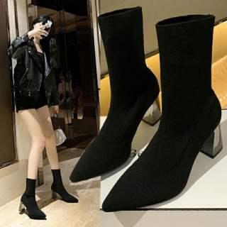 giày bốt len đế gương cao 7cm đi tôn dáng xinh ấm chân dễ mix đồ TẶNG TẤT KHỬ MÙI trị giá 15k khi mua sp tại BITBOT