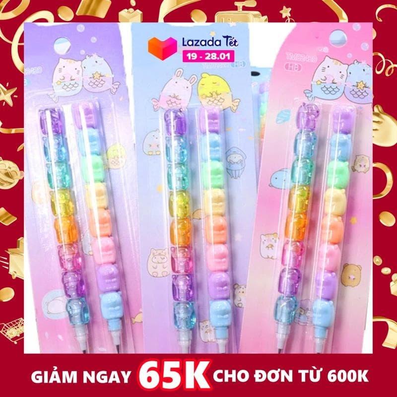 Mua Set 2 bút chì khúc HB cao cấp màu sắc kẹo ngọt thiết kế đáng yêu tiện lợi cho bé tập vẽ tập viết BBShine – H044