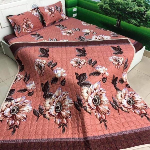 TRỌN BỘ 5 MÓN CHĂN TRẦN GA GỐI VỎ ÔM - MẪU HOA CAM NÂU -  ( nhắn tin cho shop để chọn size giường phù hợp nhé )