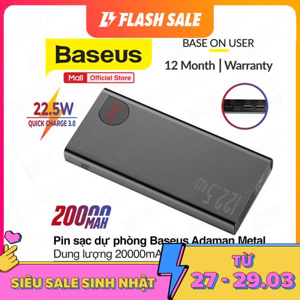 Pin dự phòng sạc nhanh Baseus Adaman Metal Digital Display Quick Charge 3.0, 22.5W dung lượng 20000mAh