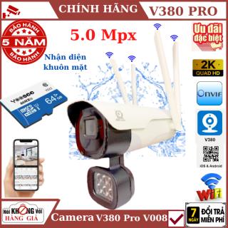 (Thẻ nhớ 64Gb), Camera wifi ngoài trời 4 râu 5.0Mpx V380 Pro - V008 , Nhận diện khuôn mặt , cảnh báo chống trộm, chống nước ip65 , camera ip ngoài trời , camera chống nước , camera, camera V380 pro , v380 thumbnail