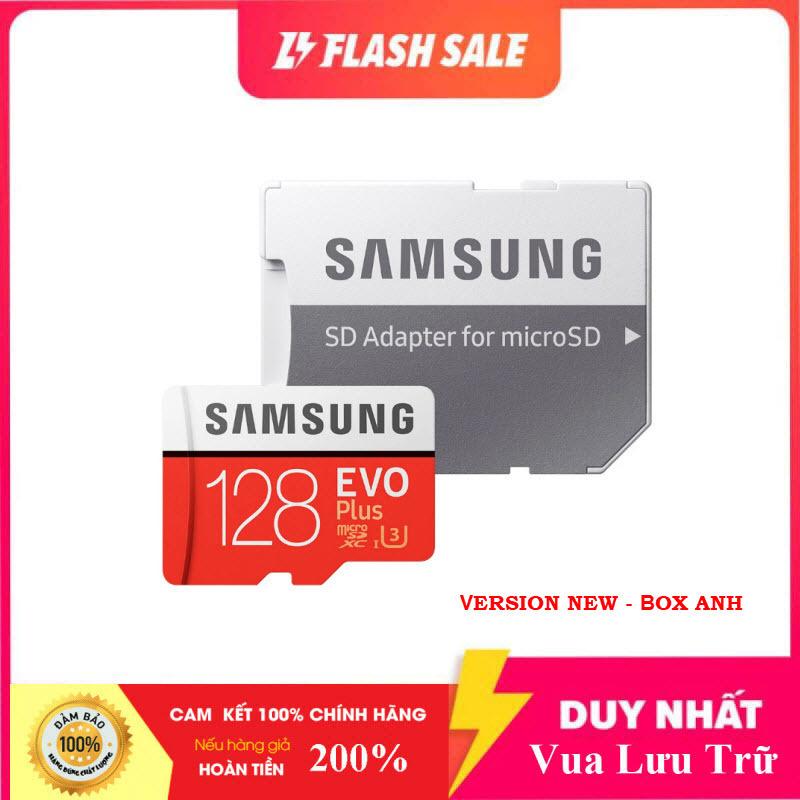 [Flash Sales] Thẻ nhớ MicroSDXC Samsung Evo Plus 128GB U3 4K R100MB/s W60MB/s - box Anh New 2020 (Đỏ) + Kèm Adapter
