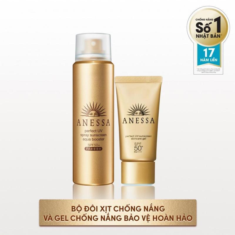 Bộ đôi xịt chống nắng và Gel chống nắng bảo vệ hoàn hảo Anessa Perfect UV Sunscreen Skincare (60g + 32g) nhập khẩu