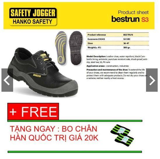 Giày BHLĐ Safety Jogger Bestrun S3 tặng kèm bó chân Hàn Quốc - hình thật