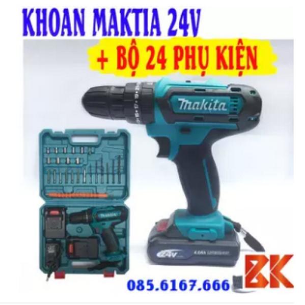 Máy Khoan Pin Bê Tông Bắt Vít MAKITA 24V - 3 chức năng- 2 Pin 4Ah - Khoan Sắt, Gỗ, Bắn Vít