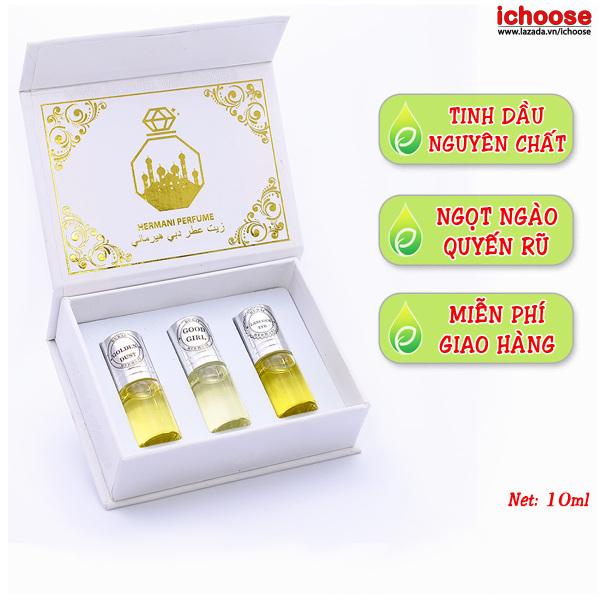 Tinh dầu nước hoa Dubai dạng lăn set 3 chai hương thơm ngọt ngào quyến rũ lưu hương cực lâu - Set tinh dầu dubai nước hoa nữ thơm lâu quyến rũ