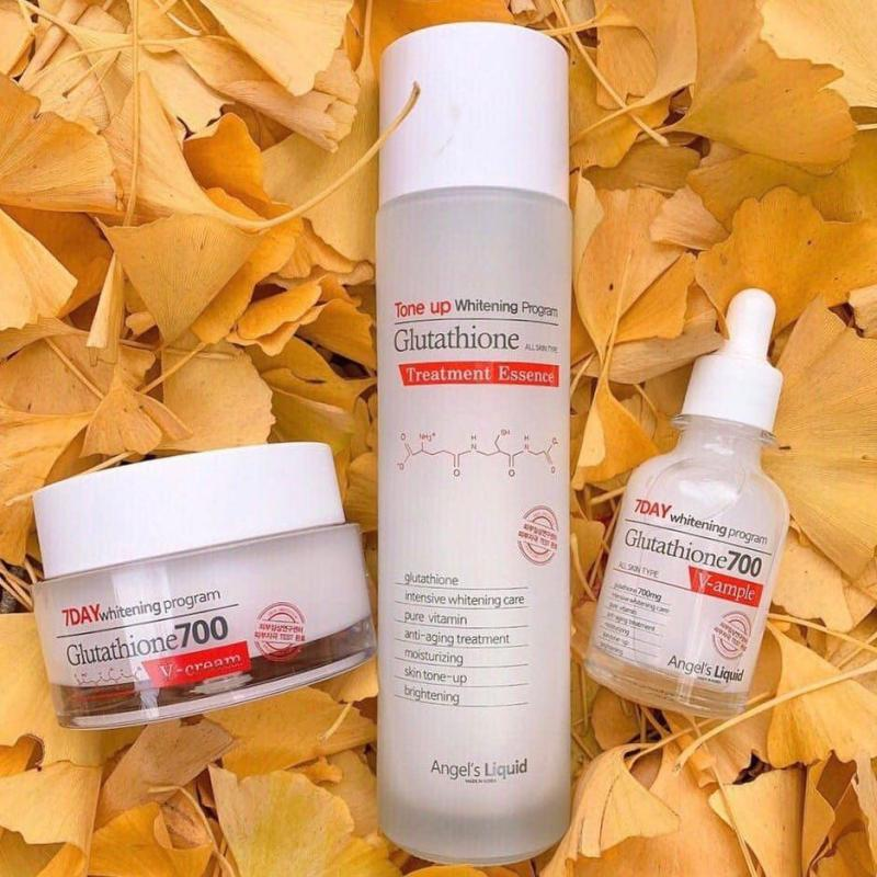Set Mini Toner - Serum - Kem Dưỡng 7 Day Whitening Program Glutathione 700 V-Ample nhập khẩu