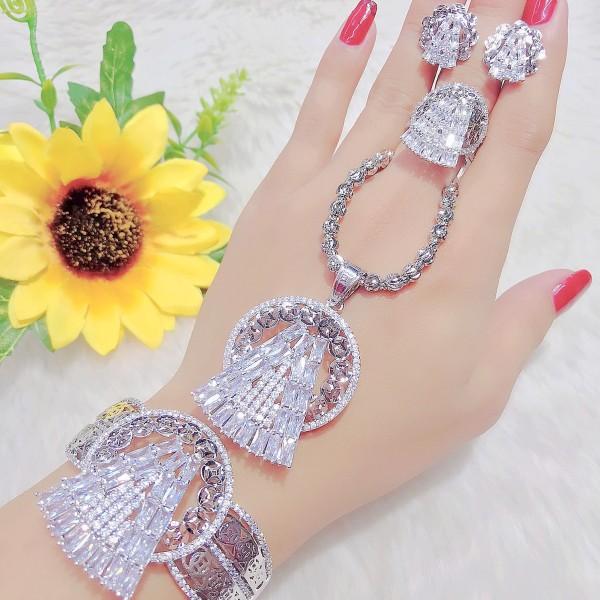 Bộ trang sức mạ Vàng + Bạch kim bộ trang sức nữ đính đá pha lê sáng lấp lánh không phai màu thiết kế sang trọng quý phái - KADO shop - B4180694 - Đeo đi làm đi đám cưới sang trọng