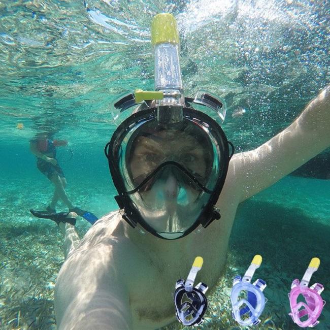 Mặt Nạ Lặn Full Face Có Gắn Liền Ống thở Góc Quan Sát Rộng 180 Độ - Kính Bơi Thiết Bị Lặn Biển - Goăng Silicone Mềm Mại Ngăn Nước - Có Thể Gắn Camera Hành Trình - Bảo Hành Đổi Mới 1 Đổi 1.