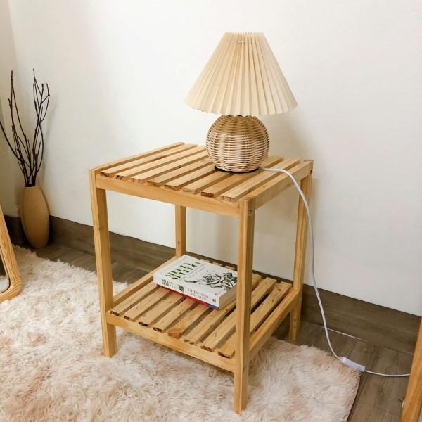 Kệ Đầu Giường Khung Gỗ Mặt Nan 2 Tầng Tab Để Đồ Đa Năng Mặt Gỗ Thông Nhập Khẩu, Phong Cách Hiện Đại/ Wood Shelf