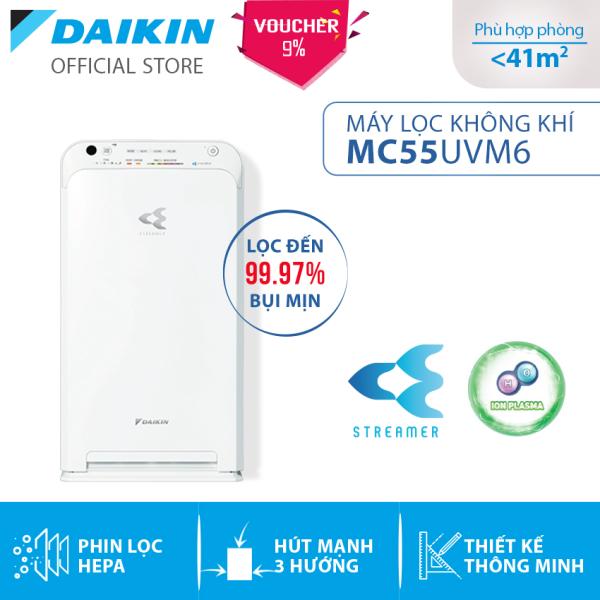 Máy Lọc không khí Daikin MC55UVM6 - Phù hợp phòng 41m2 - Công nghê Streamer độc quyền - Phin lọc tĩnh điện Hepa - Hút gió 3 hướng - Vận hành êm ái - Thiết kế nhỏ gọn - Hàng chính hãng