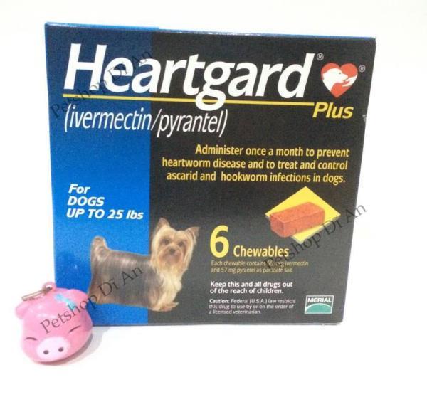 Hộp 06 viên nhai Heartgard Plus phòng & trị giun tim, giun đũa, giun móc cho chó <11.5kg