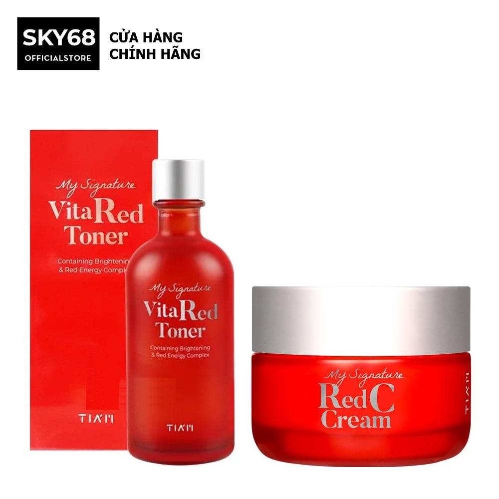 Combo Nước hoa hồng và Kem dưỡng trắng da, làm mờ thâm Tiam My Signature Red C (Toner + Cream) cao cấp