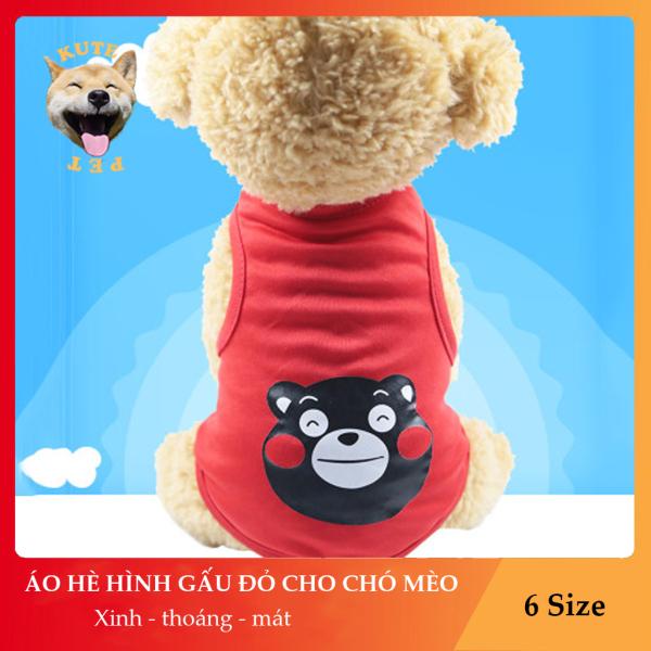Áo mùa hè cho chó mèo thú cưng hình gấu đỏ cực kì thoáng, mát, thỏa mái, đáng yêu