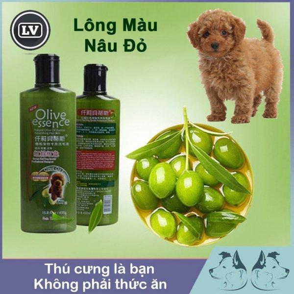 Sữa tắm chó tinh dầu ô liu OLIVE dành cho chó màu nâu đỏ - Dầu tắm chó mèo 450ml