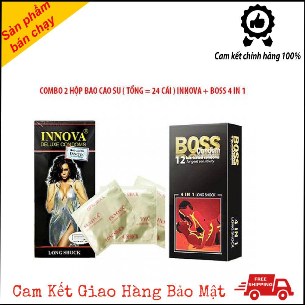 Combo Bao Cao Su Boss 4 in 1 và Bao Cao Su INNOVA Gân Gai Nhỏ Có kéo Dài Thời Gian 52mm [ Tổng 24 cái BCS] cao cấp