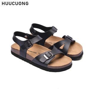 Sandal Unisex HuuCuong 1 Khóa Đen Đế Trấu thumbnail