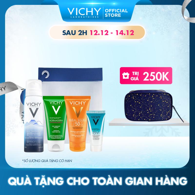 Bộ sản phẩm chăm sóc & bảo vệ da dầu Vichy gồm: Kem chống nắng Ideal Soleil Dry Touch, Xịt khoáng, Gel rửa mặt và Serum khoáng Mineral 89 nhập khẩu