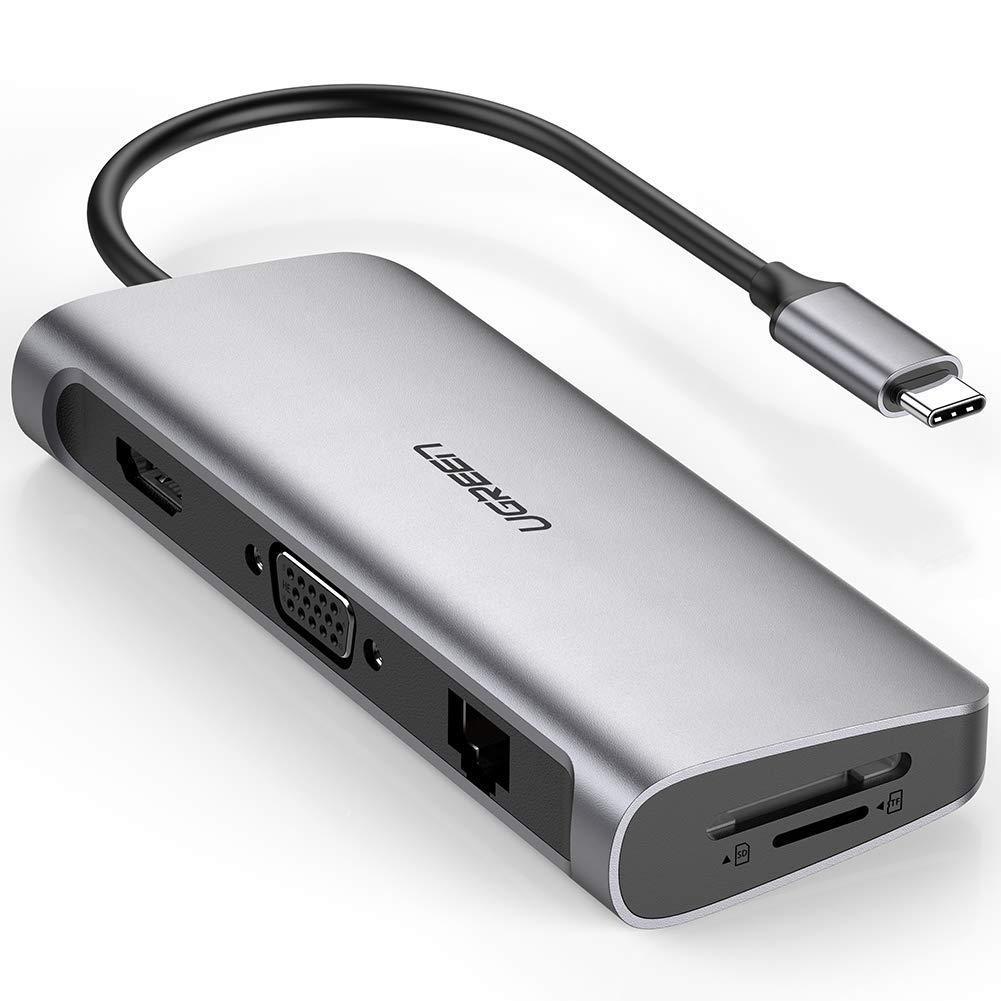 Giá Hub USB Type C To HDMI, VGA, USB 3.0, Lan, SD, USB-C Ugreen 40873