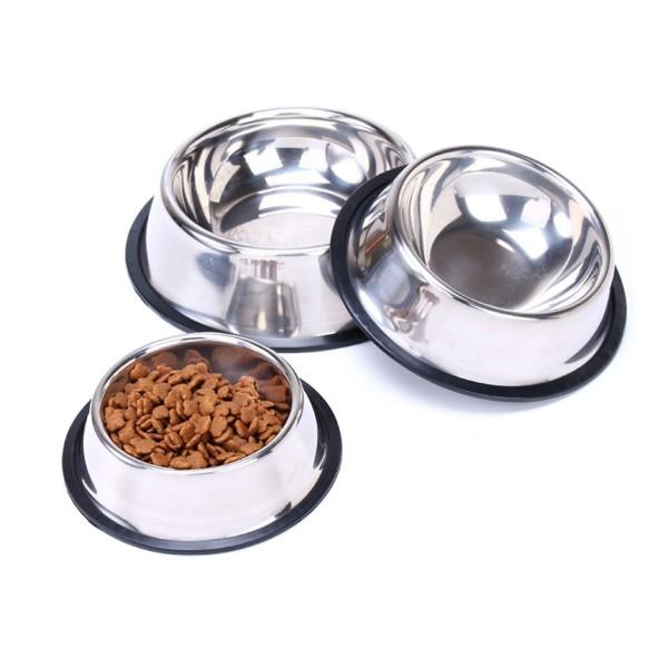 Bát ăn cho mèo bằng inox Không màu có đế cao su