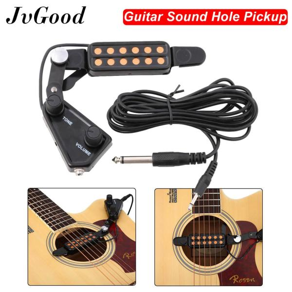 JvGood 12-hole Acoustic Guitar Sound Hole Pickup Magnetic Transducer with Tone Volume Controller Audio Cable