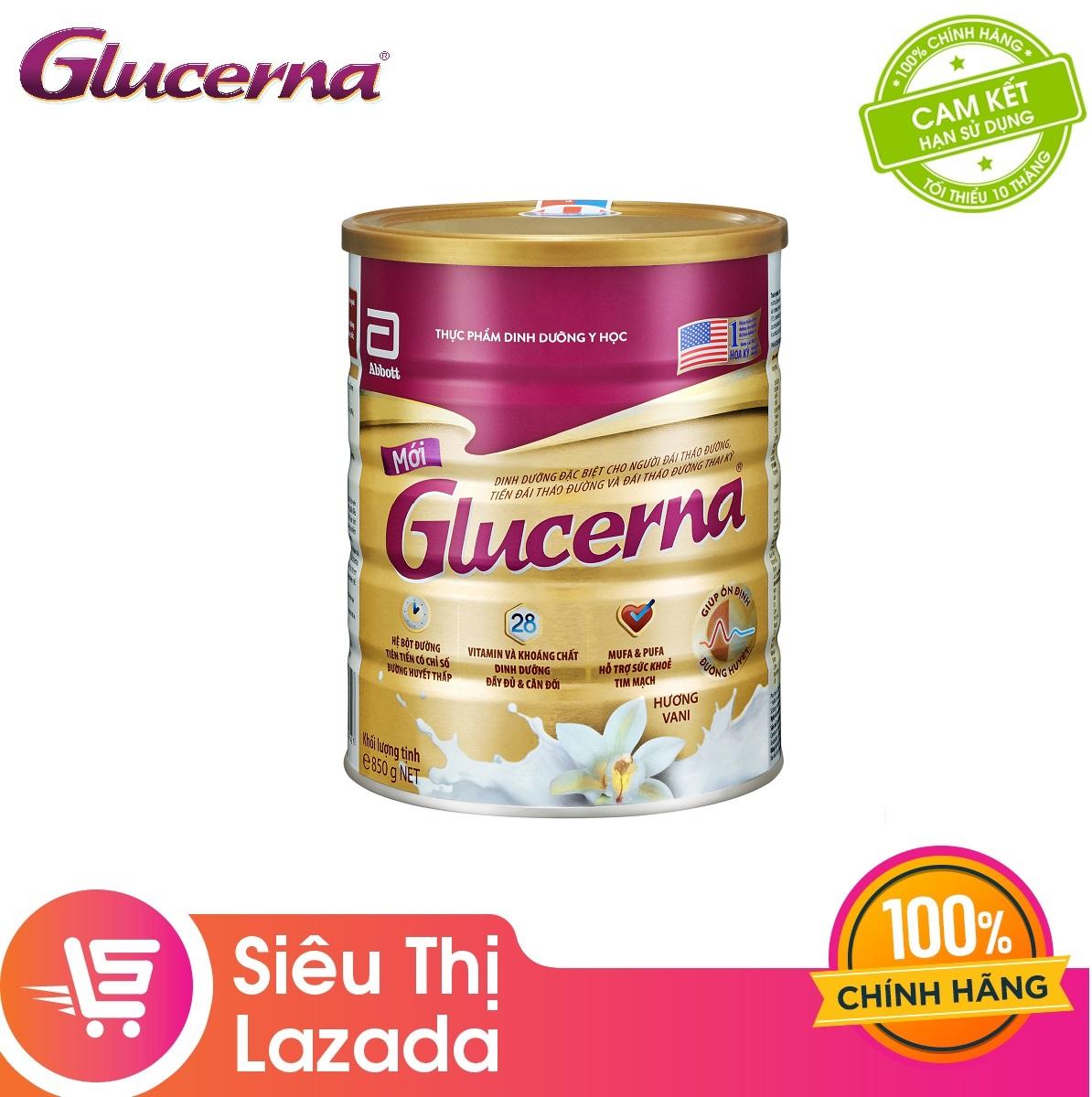 Lon sữa bột Abbott Glucerna Hương Vani 850gram công thức độc đáo và hệ dưỡng chất đặc chế Triple Care bổ sung dinh dưỡng
