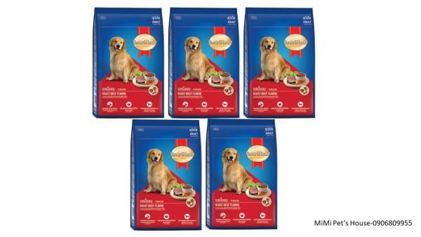 [Date:07/2022] Combo 5 gói thức ăn hạt khô cho chó trưởng thành vị bò nướng Smartheart 400g