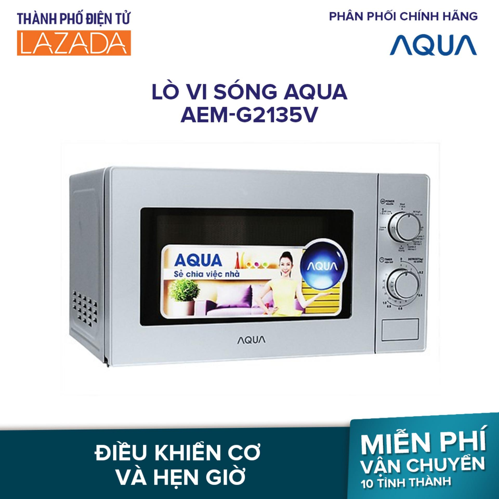 LÒ VI SÓNG AQUA AEM-G2135V - 20L- Công suất vi sóng: 700W, nướng: 1000W; Điều khiển cơ; hẹn giờ - Hàng phân phối chính hãng