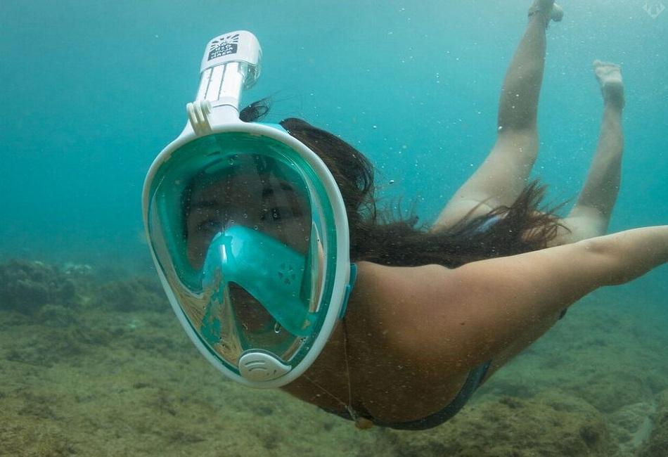 bình dưỡng khí lặn, Mặt nạ lặn ưu đãi đặc biệt có gắn ống thở 1 chiều ngăn nước, Giá tốt tại EHOME, Mặt nạ lặn biển Full Face tầm nhìn 180 độ có ống thở gắn được camera hành trình. Mã 008