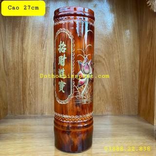 Ống nhang gỗ tràm bông vàng cao 27cm cẩn thumbnail