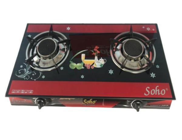 Bếp gas đôi hồng ngoại mặt kính cường lực Soho 899HGA (Đen đỏ),Tiết kiệm gas đến 30%