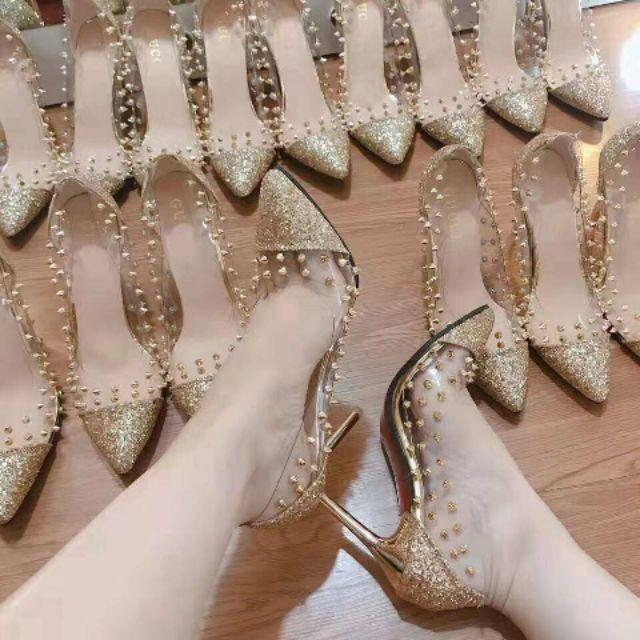 Giày Cao Gót Nhọn 9 Phân Phối Đinh Trong Suốt Sang Chảnh 2019