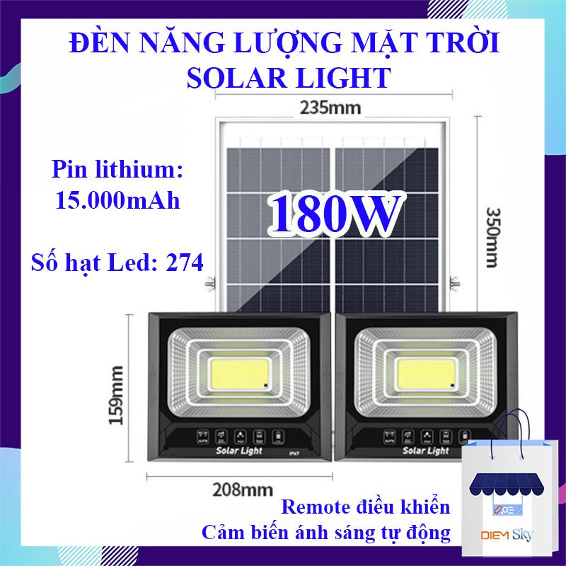 Đèn năng lượng mặt trời Solar light 180W, 2 bóng đèn 274 hạt Led, chống nước chuẩn IP67, pin lithium 15000Mah, đèn năng lượng mặt trời có remote điều khiển BH 1 năm