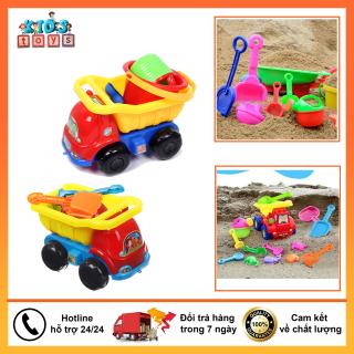 Đồ chơi xúc cát đi biển có xe chở đồ và dụng cụ xúc đất cát cho bé nhập vận động ngoài trời thumbnail