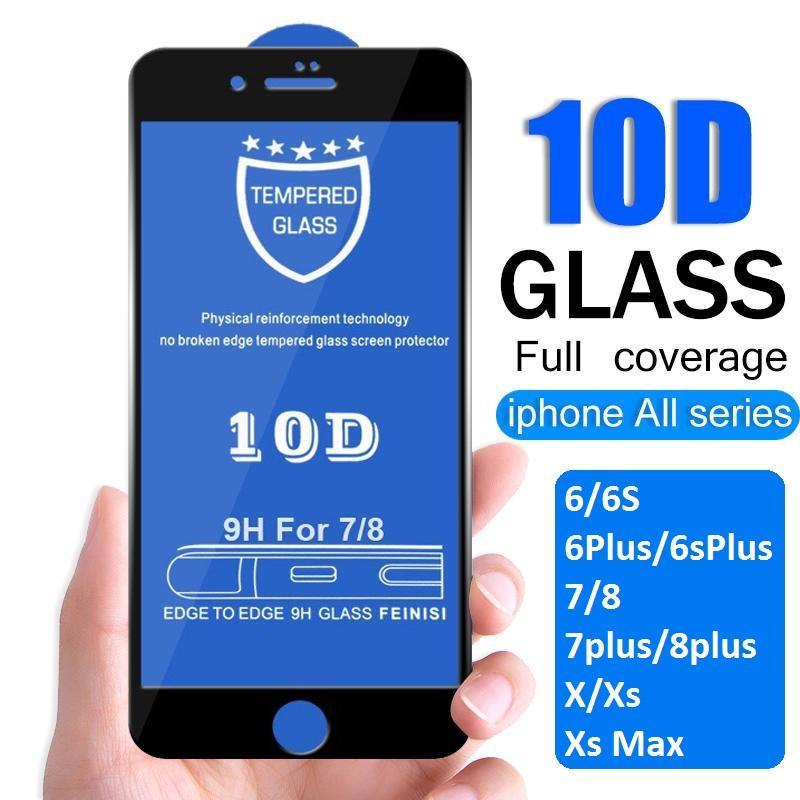 Giá Quá Tốt Để Có Kính Cường Lực 10D Full Màn Hình Dành Cho Iphone 6/6s/6Plus/6SPlus/7/8/7plus/8plus/X/Xs/Xr/Xsmax Siêu Bền, Chống Trầy Xước, Va đập Hiệu Quả - Có 2 Màu đen, Trắng