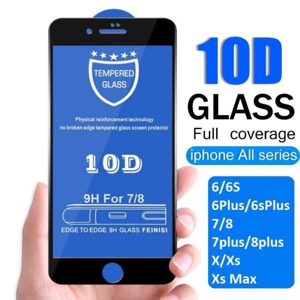 Giá Kính cường lực 10D full màn hình dành cho iphone 6/6s/6Plus/6SPlus/7/8/7plus/8plus/X/Xs/Xr/Xsmax siêu bền, chống trầy xước, va đập hiệu quả - Có 2 màu đen, trắng