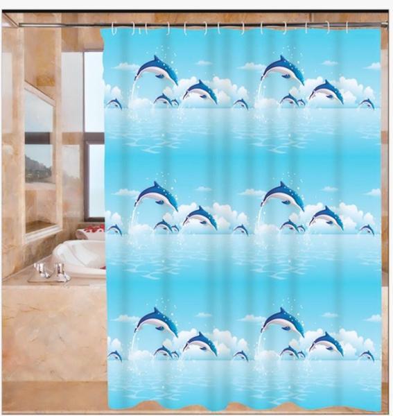 Màn treo nhà tắm Cá Heo size lớn 1m8 x 1m8
