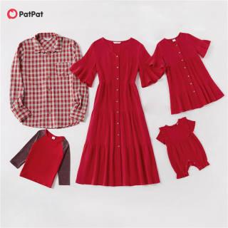 Bộ Màu Đỏ Phù Hợp Với Gia Đình PatPat 100% Cotton (Váy Tay Phồng-Áo Sơ Mi Kẻ Sọc Có Cúc Phía Trước-Quần Yếm Áo Thun Dài Tay) Trang Phục Phù Hợp Với Gia Đình-Z