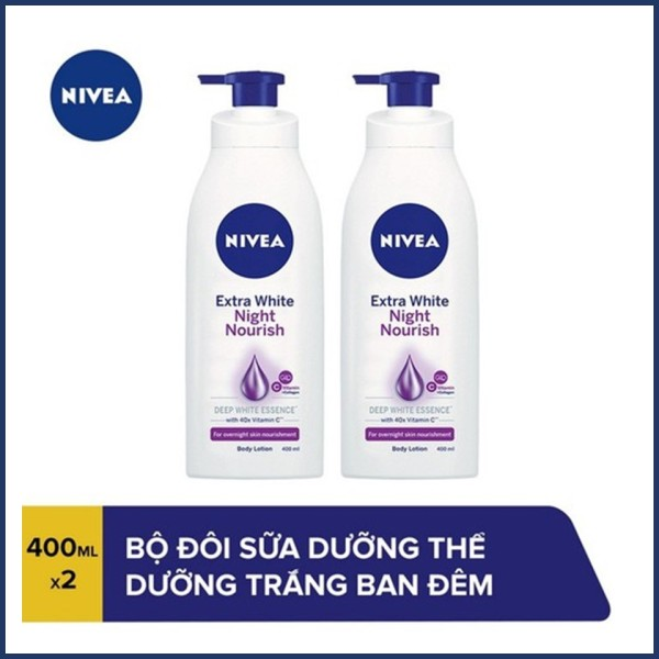 COMBO 2 Sữa dưỡng thể trắng da Nivea Ban đêm 400mlx2 nhập khẩu