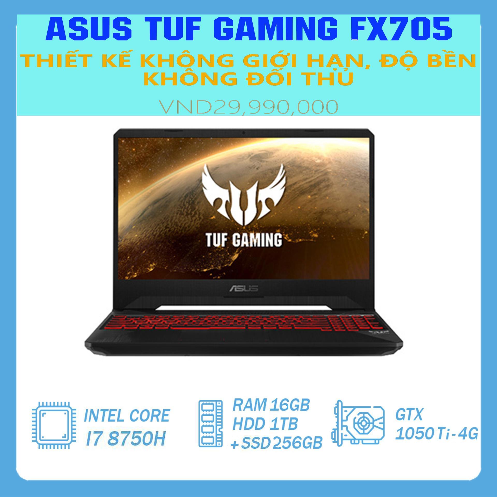 Laptop Asus TUF Gaming FX705GE chip 12 luồng, Còn BH Hãng ~6/2021 ( i7-8750H, RAM 16GB, SSD 256G + HDD 1T, VGA NVIDIA GTX 1050Ti- 4Gb, màn 17.3″ Full HD IPS, viền siêu mỏng, nhỏ gọn như laptop 15 inch)