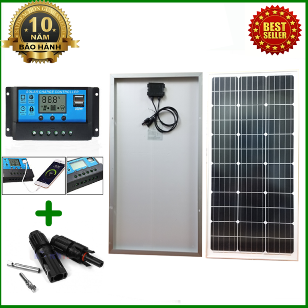 Tấm Pin năng lượng mặt trời đơn tinh thể Mono 80W tặng điều khiển sạc 30A 12V/24V LCD (công suất 360w) + jack MC4